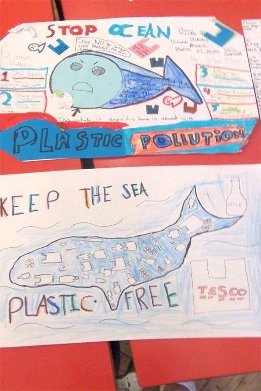 Year 6 posters, to be displayed in the school, informing about the dangers of plastic pollution